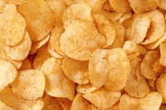 Potato Chips. Close up of potato chips Stock Photography