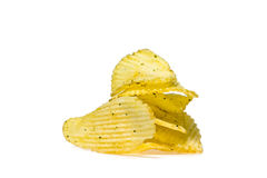 Potato Chips. Several potato chips isolated on white background Stock Image