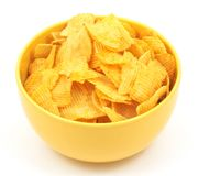 Potato chips. In bowl, on white Stock Image