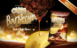 Potato chips ad barbecue Royalty Free Stock Image