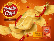 Potato chips advertisement. Spicy flavor 3d illustration stock illustration