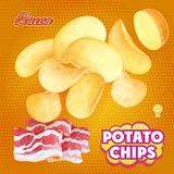 Potato chips advertising bacon flavor. Design packaging vector.  Stock Photo