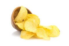 Potato Chips And A Small Wooden Bowl Royalty Free Stock Photo