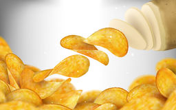 Potato chips background. Tasty seasoned chips derived from raw potato in 3d illustration stock illustration