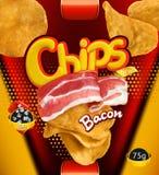 Potato chips. Bacon flavor. Design packaging, vector template. Potato chips. Bacon flavor. Design packaging, 3d vector template royalty free illustration