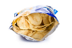 Potato chips in bag. On white background stock photos