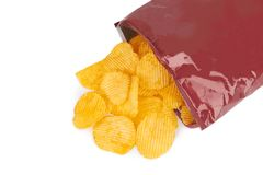 Potato chips bag. Isolated on white background royalty free stock photography