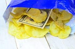 Potato chips in bag Royalty Free Stock Photos