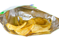 Potato Chips in the Bag Royalty Free Stock Photography