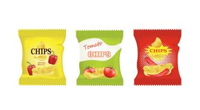 Free Potato Chips Bags Design With Different Flavors Stock Photo - 125204900