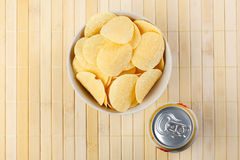 Potato chips and beer Stock Image