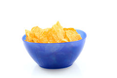 Potato chips Bolognese in blue bowl Royalty Free Stock Photography