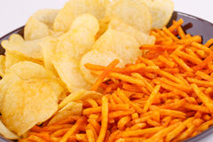 Potato chips in bowl Royalty Free Stock Images