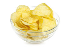 Potato chips. In bowl isolated on white Royalty Free Stock Photos
