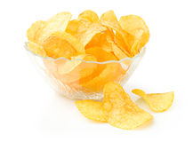 Potato chips in bowl Royalty Free Stock Photos