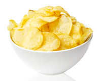 Potato chips bowl isolated on white Royalty Free Stock Images