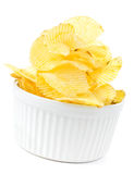 Potato chips bowl isolated on white background Royalty Free Stock Photography