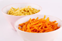 Potato chips in bowl Royalty Free Stock Photography