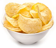 Potato chips in a bowl. Royalty Free Stock Photography