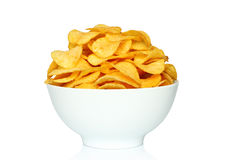 Potato chips bowl on a white background Royalty Free Stock Image