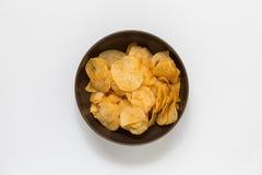 Potato Chips Bowl on White Background Stock Photo