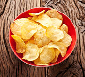 Potato chips in a bowl. Stock Image