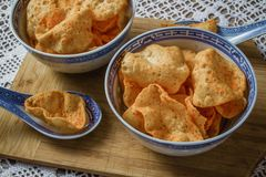 Potato Chips in Bowls Royalty Free Stock Photos