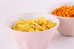 Potato chips in bowls Royalty Free Stock Images