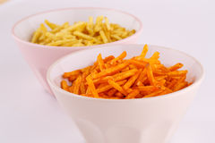 Potato chips in bowls Stock Photo