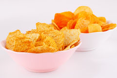 Potato chips in bowls Stock Photos