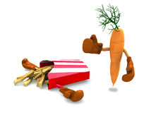 Potato chips and carrot that fight. The winner is the carrot with vitamins Stock Photo