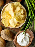Potato chips on ceramic plate Royalty Free Stock Images