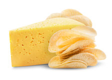 Potato chips. With cheese on a white background. Clipping Path royalty free stock photography
