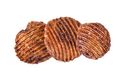 Potato chips with chocolate flavored on white Royalty Free Stock Photo
