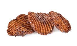 Potato chips with chocolate flavored on white background Stock Photo