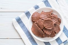 potato chips with chocolate stock photography