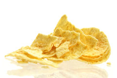 Potato chips. Close up of  fried potato chips isolated on  white background Stock Photography