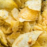 Potato chips close up stock photography