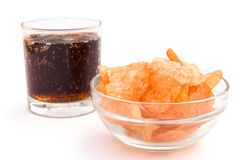 Potato chips and cola Stock Images
