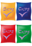 Potato chips in coloured packing Stock Photo