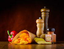 Potato-Chips and Condiments Stock Photos