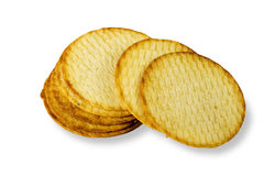 Potato chips cookies. White background isolation close-up Stock Images