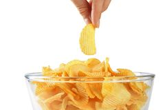 Potato chips, crisps, in the bowls Royalty Free Stock Photos