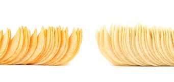 Potato chips. Dark and light. Frame. Royalty Free Stock Images