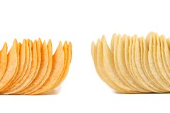 Potato chips. Dark and light. Frame. Royalty Free Stock Photo