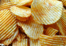 Potato chips. Detailed view of potato chips stock images