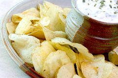 Potato Chips and Dip Stock Image