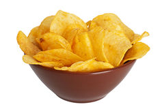 Potato chips in a dish. On a white background Stock Photos