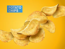 Potato chips elements. Sliced potato chips still life, yellow background 3d illustration vector illustration