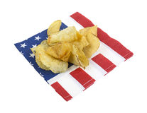 Potato chips on flag napkin Royalty Free Stock Images